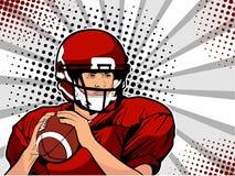 Idrottsman nen för amerikansk fotboll Vektorillustration i retro komisk stil för popkonst Royaltyfri Bild