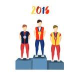 Idrottsman nen för friidrottvinnarepodium Sportbild stock illustrationer