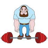 Idrottsman nen i idrottshallen med vikt stock illustrationer