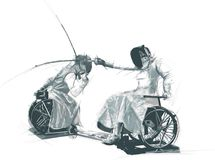 Idrottsman nen med fysiska handikapp - FÄKTNING vektor illustrationer