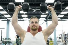 Idrottsman nen som gör övningen för skuldror med hantlar som sitter på en bänk Unga muskulösa mandrev på idrottshallen arkivfoton