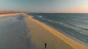 Idrottsman nengrabben kör längs kusten på en solig dag skor för sko för vänster running för frysning för fokus för fält för uppgi lager videofilmer