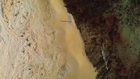 Idrottsman nengrabben kör längs kusten på en solig dag skor för sko för vänster running för frysning för fokus för fält för uppgi arkivfilmer