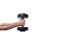 Idrottsman nenkroppsbyggare som in rymmer handen en hantel, muskulös handnolla royaltyfri bild