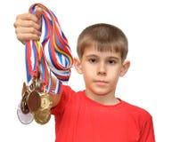idrottsman nenpojkemedaljer Royaltyfri Bild