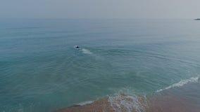 Idrottsman nensimmare i wetsuit i öppet vatten stock video