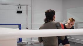 Idrottsman som förutom vänder slåget på boxningutbildning som svänger vägsnedhet på cirkeln arkivfilmer