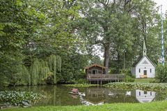Idyl na lagoa de Erlkam perto de Holzkirchen Imagem de Stock
