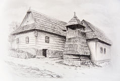 Idylic willage houses with wooden belfry, pencil drawing on paper. Stock Images