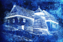 Idylic willage houses with wooden belfry, pencil drawing on paper with color effect. Royalty Free Stock Photo