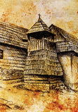 Idylic willage houses with wooden belfry, pencil drawing on paper with color effect. Stock Image