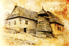 Idylic willage houses with wooden belfry, pencil drawing on paper with color effect. Royalty Free Stock Image