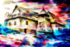 Idylic willage houses with wooden belfry, pencil drawing on paper with color fractal effect. Royalty Free Stock Image