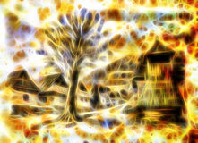 Idylic willage houses with wooden belfry and tree, pencil drawing on paper with color fractal effect. Royalty Free Stock Images