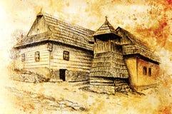 Idylic willagehus med träklockstapeln, blyertspennateckning på papper med färgeffekt Royaltyfri Bild