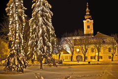 Idylic winter cityscape evening in snow Royalty Free Stock Image