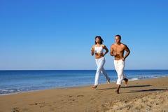 Idyll. Run along the beach (morning Stock Image