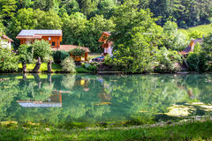 Idyll countryside with river, green nature- Bavaria, Essing Stock Photography