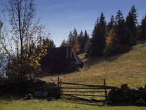 Idyll of a mountain village. A wooden entrance to the property at the top of the mountain in central Bosnia stock photography