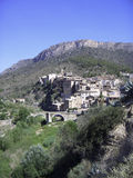 Idyll Series. A small mountain village at the foot of the montsant mountains in spain, priorat royalty free stock images