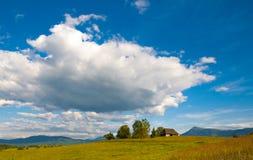 Idyllic Ð¡arpathian chalet summer meadow mountains Stock Photo