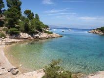 Idyllic adriatic bay. A typical adriatic seaside Beautiful bay. Hvar Island, Dalmatia, Croatia royalty free stock photography