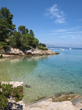 Idyllic adriatic bay. Beautiful bay. Hvar Island, Dalmatia, Croatia royalty free stock photography