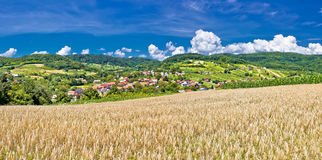 Idyllic agricultural landscape of Kalnik mountain Royalty Free Stock Images