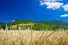 Idyllic agricultural mountain landscape of Croatia Stock Photo