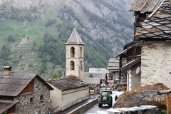 Idyllic agricultural mountain village of Saint-Véran, France Royalty Free Stock Images
