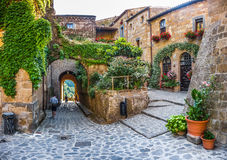 Idyllic alley way in civita di Bagnoregio, Lazio, Italy Royalty Free Stock Images