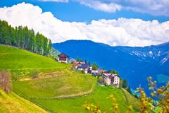Idyllic alpine vilage on the slope. Antermoia in Val Badia, South Tyrol, Alps of Italy Stock Photos