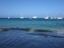 An idyllic anchorage in the caribbean stock footage