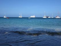 An idyllic anchorage in the caribbean stock video