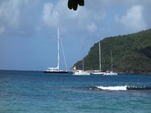 An idyllic anchorage in the windward islands stock video