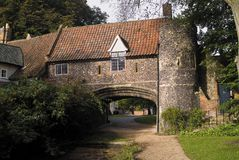 Idyllic ancient English house. Very old house in Norfolk stock photo