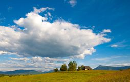Idyllic Сarpathian chalet summer meadow mountains Stock Photo