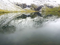 Idyllic autumn scene in the Alps with mountain lake reflection Stock Photography