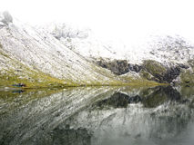 Idyllic autumn scene in the Alps with mountain lake reflection Royalty Free Stock Photography