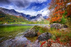 Idyllic autumn scene in Grundlsee lake in Alps mountains, Austri Stock Image