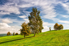 Idyllic autumn scenery on the golf course. Autumn landscape on the empty golf course Royalty Free Stock Images