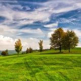 Idyllic autumn scenery on the golf course. Autumn landscape on the empty golf course Royalty Free Stock Photo