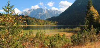 Idyllic autumnal landscape, ferchensee and karwendel mountains Stock Image