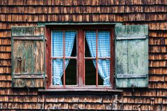 Idyllic Bavarian alpine cottage window Royalty Free Stock Image