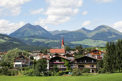 Idyllic Bavarian Landscape, Village And Zugspitze Royalty Free Stock Image