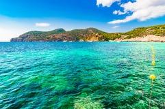 Beautiful seaside landscape on Majorca island, Spain. Idyllic bay of Camp de Mar, beautiful coast on Mallorca, Mediterranean Sea, Balearic Islands Stock Photo