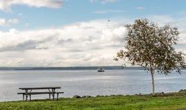 Idyllic bay shoreline view in Seattle Royalty Free Stock Photo