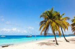Idyllic beach at Caribbean. Idyllic tropical beach with white sand, palm trees and turquoise Caribbean sea water on Mayreau island in St Vincent and the stock photography