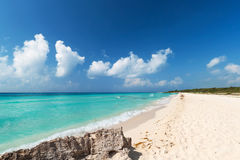Idyllic beach of Caribbean Sea in Mexico Stock Image