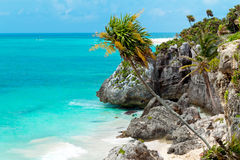 Idyllic beach of Caribbean Sea in Playacar Stock Photo